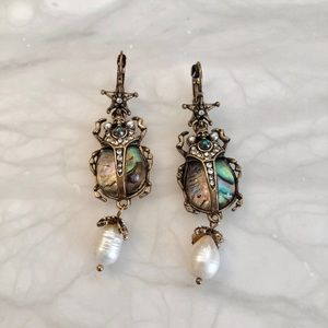 SCARAB Bettle Insect statement drop star earrings